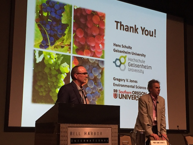 Greg Jones of Southern Oregon University and Hans Schultz of Geisenheim University in Germany present climate research at the 2016 Riesling Rendezvous in Seattle.