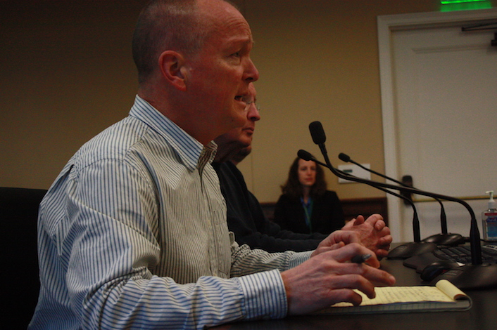 Seattle attorney Paul Beveridge, owner/winemaker of Wilridge Winery in Yakima, testifies in support of House Bill 1039, which would allow sales of growlers of wine in Washington state.