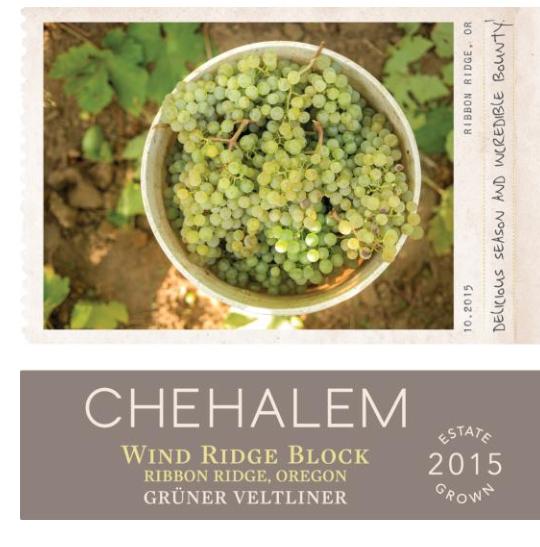 chehalem wines wind ridge block estate gruner veltliner 2015 label - Alexana, Chehalem glitter at American Fine Wine Invitational judging