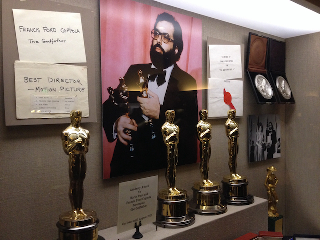 One of the previous displays at Francis Ford Coppola Winery in Geyserville, Calif., included memories and mementos of his historic night at the 1973 Oscars.