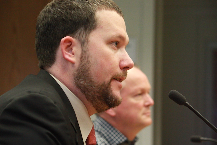 Josh McDonald of the Washington Wine Institute, and Seattle attorney Paul Beveridge, owner/winemaker of Wilridge Winery in Yakima, testify in support of House Bill 5427, which would eliminate the state wine tax imposed on wineries that produce less than 8,000 cases.
