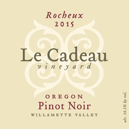 le cadeau vineyard rocheux pinot noir 2015 label - Le Cadeau Vineyard 2015 Rocheux Pinot Noir, Willamette Valley, $50