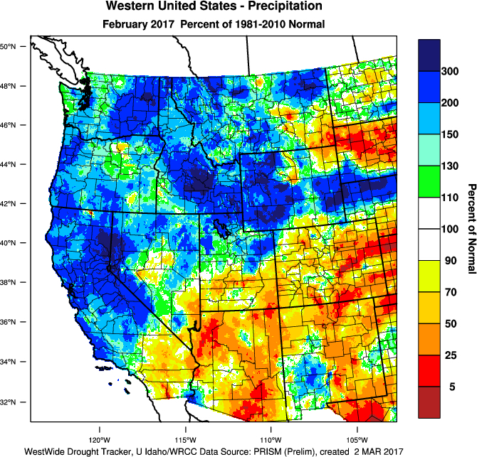 Feb17 Precip ofNormal - 2017 vintage off to cool start in Pacific Northwest