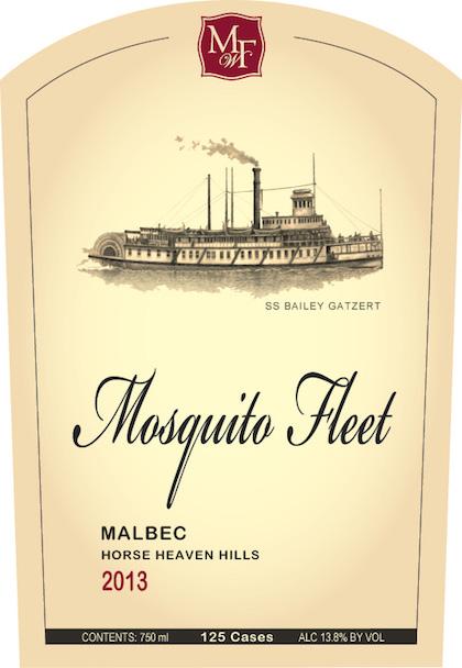 mosquito fleet malbec 2013 label - Mosquito Fleet Winery 2013 Malbec, Horse Heaven Hills, $29