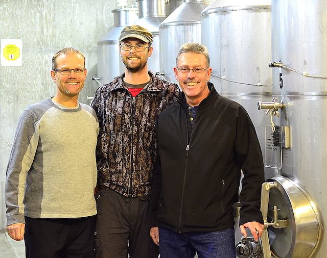 Roland Kruger, left, winemaker Nicholas Kruger, and managing winemaker Hagen Kruger stand out for their work in the cellar, which is under the tasting room at Wild Goose Vineyards in Okanagan Falls, British Columbia.