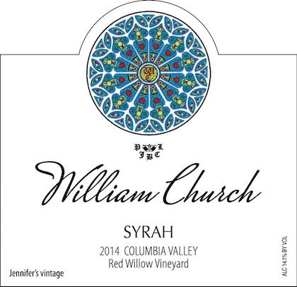 william church winery red willow vineyard jennifers vintage syrah 2014 label - Syrah flourishes as Washington wine industry's secret weapon