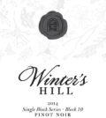 winters hill winery single block series block 10 estate pinot noir 2014 label 120x134 - Winter's Hill Winery 2014 Block 10 Estate Single Block Series Pinot Noir, Dundee Hills, $49