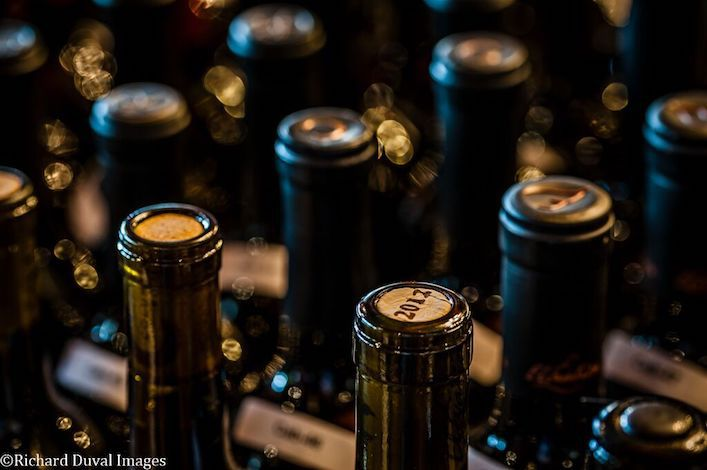 Cabernet Sauvignon entries stand ready to be double-decanted for judges at the 2017 Cascadia Wine Competition in Hood River, Ore., at the historic Columbia Gorge Hotel.