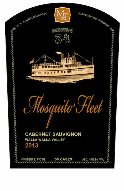 mosquito fleet winery reserve 34 cabernet sauvignon 2013 label - Mosquito Fleet Winery 2013 Reserve 34 Cabernet Sauvignon, Walla Walla Valley, $90