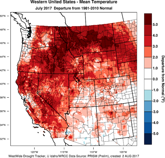 July17 Temp Departure - Northwest vineyards track ahead of cooler vintages