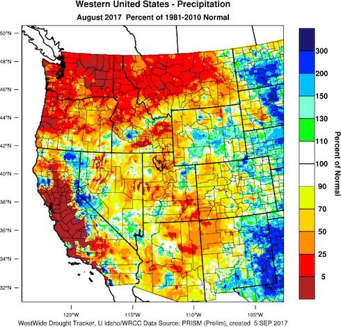 august 2017 precip normal - Little rain in sight for smoke-choked Northwest vineyards