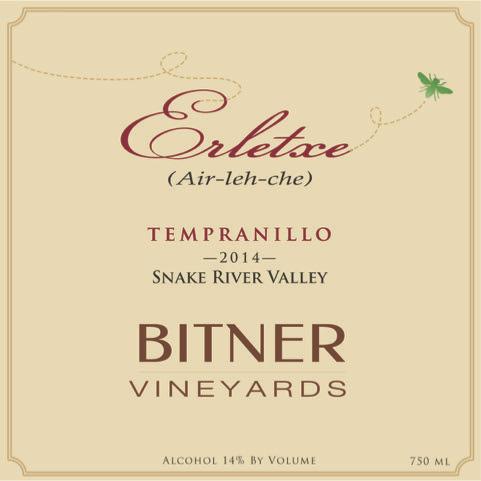 bitner vineyards erletxe tempranillo 2014 label - Bitner Vineyards 2014 Erletxe Tempranillo, Snake River Valley, $35