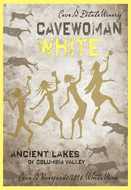 cave b estate winery cavewoman white 2016 label - Cave B Estate Winery 2016 Cave B Vineyards Cavewoman White Wine, Ancient Lakes of Columbia Valley, $14