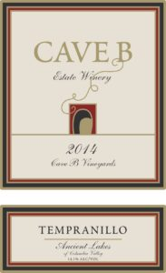 cave b tempranillo 183x300 - Cave B Estate Winery 2014 Tempranillo, Ancient Lakes of Columbia Valley, $33