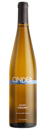 cinder wines off dry riesling nv bottle - Cinder Wines 2016 Off-Dry Riesling, Snake River Valley $18