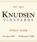 knudsen vineyards pinot noir nv label 120x134 - Knudsen Vineyards 2015 Pinot Noir, Dundee Hills, $55