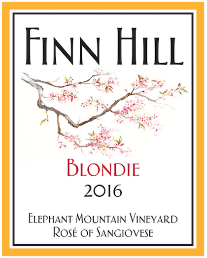 finn hill winery elephant mountain vineyard blondie rose sangiovese 2016 label - Finn Hill Winery 2016 Elephant Mountain Vineyard Blondie Rosé of Sangiovese, Rattlesnake Hills, $20