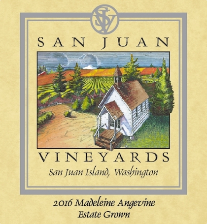 san juan vineyards madeleine angevine estate 2016 label - San Juan Vineyards 2016 Estate Madeleine Angevine, Puget Sound, $18