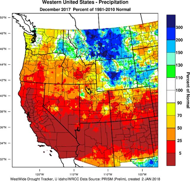 december 2017 percent normal precipitation - Dry December leaves longterm concern for Northwest snowpack
