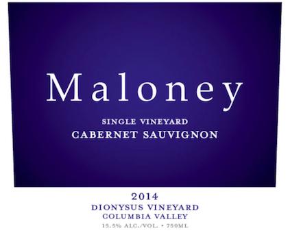 maloney wine dionysus vineyard cabernet sauvignon 2014 label - Maloney Wine 2014 Dionysus Vineyard Single Vineyard Cabernet Sauvignon, Columbia Valley, $65