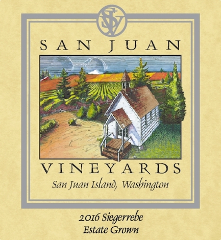 san juan vineyards estate siegerrebe 2016 label - San Juan Vineyards 2016 Estate Siegerrebe, Puget Sound, $22