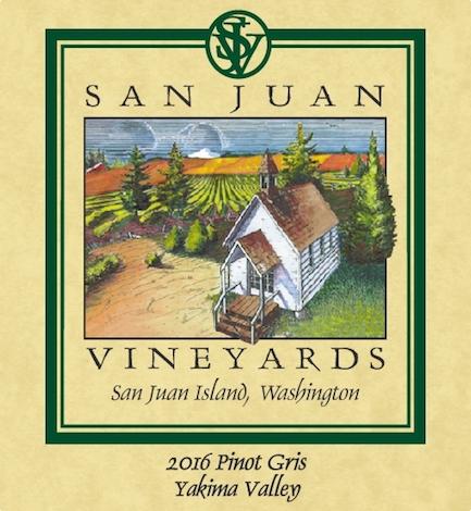 san juan vineyars pinot gris 2016 label - San Juan Vineyards 2016 Pinot Gris, Yakima Valley, $17