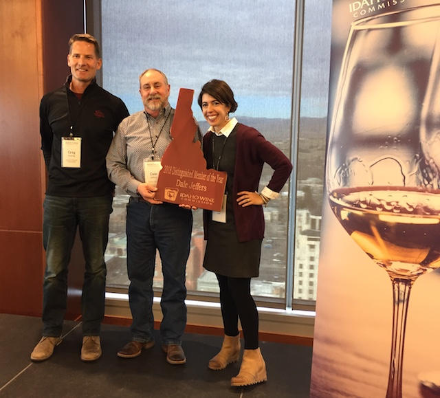 greg koenig dale jeffers moya dolsby 2 13 18 - Idaho Wine Commission presents lifetime award to Bill Stowe