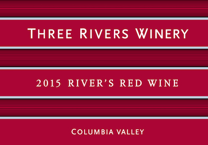 Three Rivers Winery 2015 River's Red Wine label