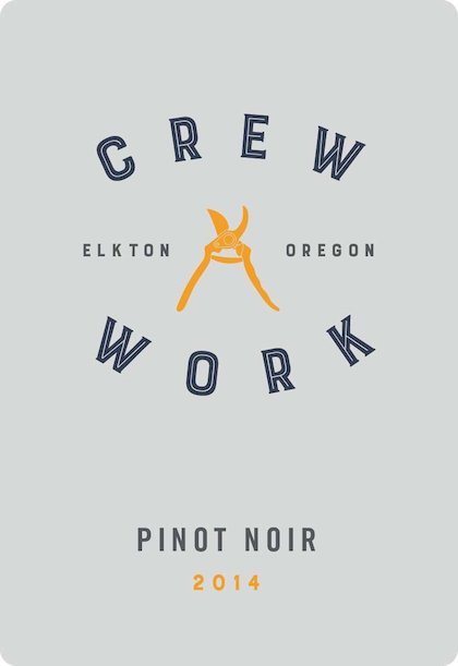 crew work pinot noir 2014 label - Crew Work Wines 2014 Pinot Noir, Elkton Oregon, $28