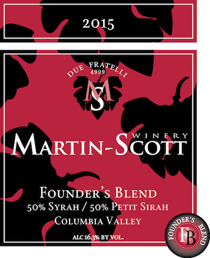 martin scott founders blend 2015 label - Martin-Scott Winery 2015 Founder's Blend 50% Syrah/50% Petite Sirah, Columbia Valley, $40