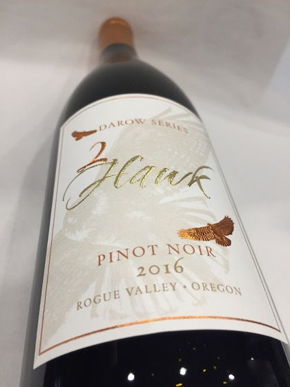 2 hawk vineyard winery darow series pinot noir 2016 bottle - 2Hawk Vineyard & Winery 2016 Darow Series Pinot Noir, Rogue Valley, $42
