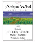 abiqua wind vineyard estate chloe breeze muller thurgau 2015 label 120x134 - Abiqua Wind Vineyard 2015 Estate Chloe's Breeze Müller-Thurgau, Willamette Valley, $12