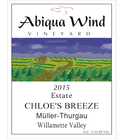 abiqua wind vineyard estate chloe breeze muller thurgau 2015 label - Abiqua Wind Vineyard 2015 Estate Chloe's Breeze Müller-Thurgau, Willamette Valley, $12