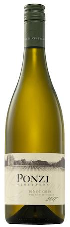 ponzi vineyards pinot gris 2017 bottle - Ponzi Vineyards 2017 Pinot Gris, Willamette Valley, $19