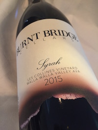 Burnt Bridge Syrah - Burnt Bridge Cellars 2015 Les Collines Vineyard Syrah, Walla Walla Valley, $35