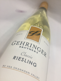 Gehringer Riesling 1 - Gehringer Brothers Estate Winery 2017 Classic Riesling, Okanagan Valley, $13