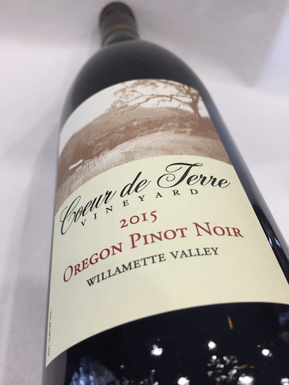 coeur de terre vineyard pinot noir 2015 bottle - Coeur de Terre Vineyard 2015 Pinot Noir, Willamette Valley, $22