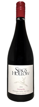 stags hollow winery grenache 2016 bottle - Stag's Hollow Winery and Vineyard 2016 Grenache, Okanagan Valley, $26