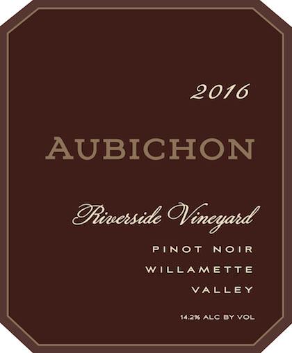 Aubichon 2016 Riverside Vineyard Pinot Noir label
