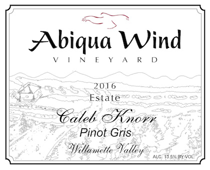 caleb 16 front - Abiqua Wind Vineyard 2016 Estate Caleb Knorr Pinot Gris, Willamette Valley, $15