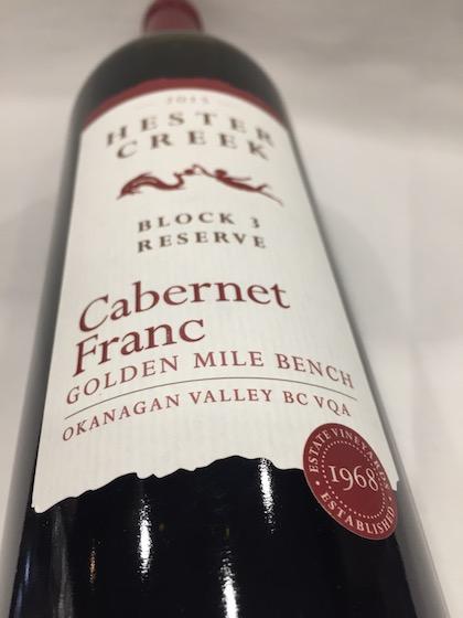 hester creek block 3 reserve cabernet franc 2015 bottle - Hester Creek Estate Winery 2015 Cabernet Franc Block 3, Golden Mile Bench, $29