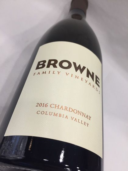 Browne Chardonnay - Browne Family Vineyards 2016 Chardonnay, Columbia Valley, $25