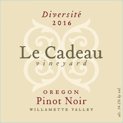 le cadeau vineyard diversite pinot noir 2016 label - Le Cadeau Vineyard 2016 Diversité Pinot Noir, Willamette Valley, $50