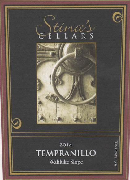 stina cellars tempranillo 2014 label - Stina's Cellars 2014 Tempranillo, Wahluke Slope $28