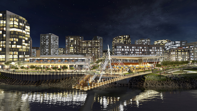 waterfront vancouver usa nighttime rendering grant street pier - Maryhill Winery to be part of $1.5 billion Vancouver USA waterfront development