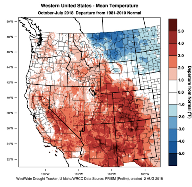 western usa mean temperature chart 8 2 18 1 - 2018 heat units tracking near 2014 vintage for Northwest wine