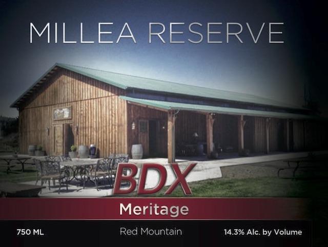 moulton falls winery millea reserve bdx meritage nv label - Moulton Falls Winery NV Millea Reserve BDX Meritage Red Wine, Red Mountain, $42