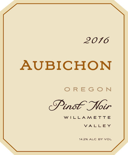aubichon cellars pinot noir 2016 label - Aubichon Cellars 2016 Pinot Noir, Willamette Valley $35