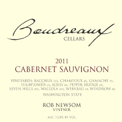 boudreaux cellars cabernet sauvignon 2011 label - Boudreaux Cellars 2011 Cabernet Sauvignon, Washington, $75