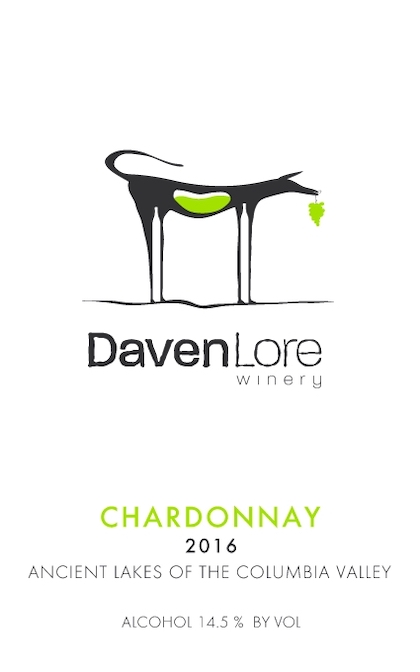 daven lore winery chardonnay 2016 label - Daven Lore Winery 2016 Chardonnay, Ancient Lakes of Columbia Valley $25